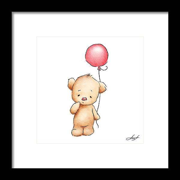 Teddy Bear With Red Balloon Framed Print