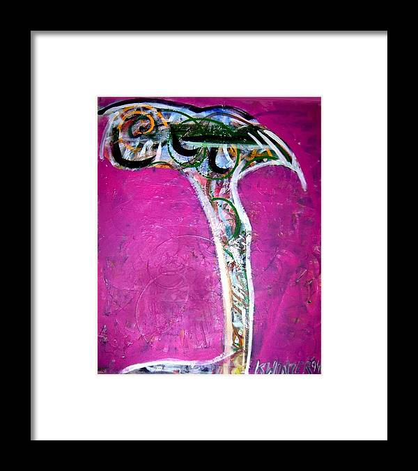 Baby Bird Pink Framed Print featuring the mixed media Baby Bird by Dave Kwinter