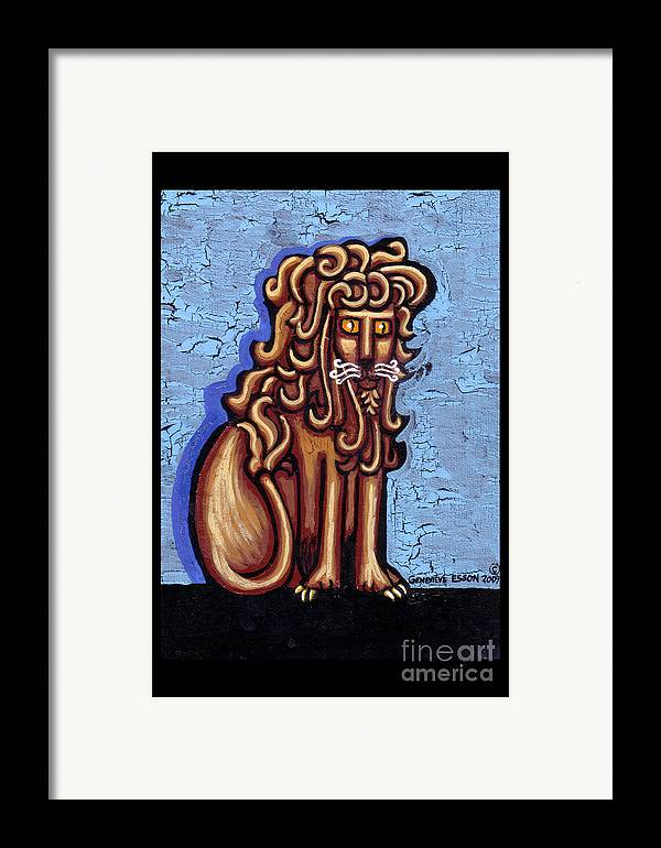 Lion Framed Print featuring the painting Baby Blue Byzantine Lion by Genevieve Esson