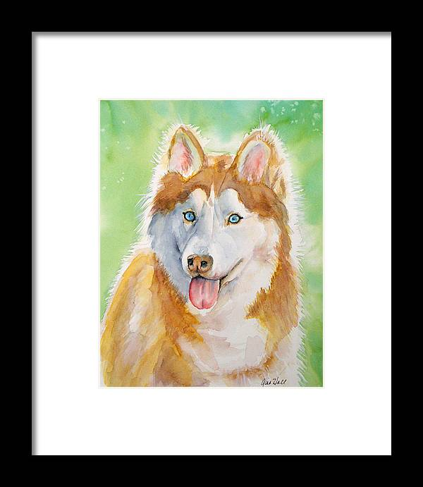 Canine Framed Print featuring the painting Baby Blue by Gina Hall