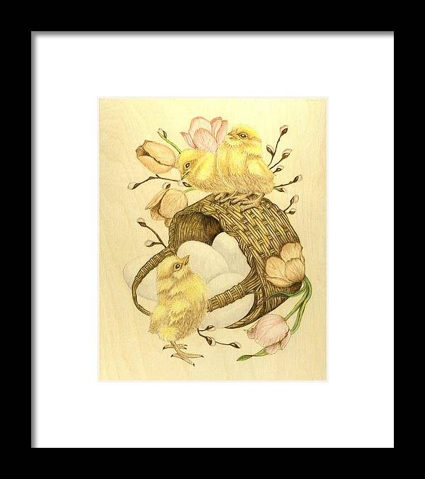 Chicks Framed Print featuring the pyrography Baby Chicks by Danette Smith