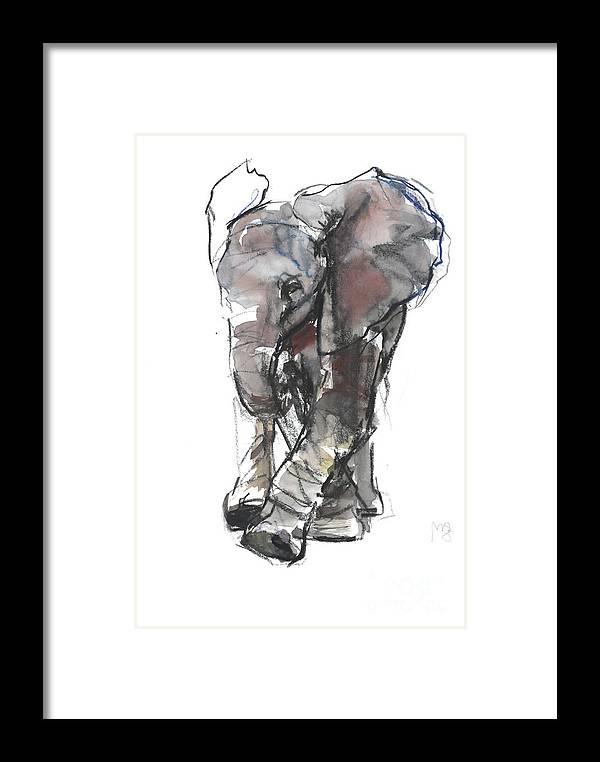 Baby Elephant Study Framed Print featuring the painting Baby Elephant Study by Mark Adlington