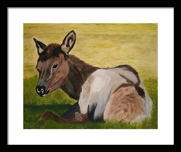 Elk Framed Print featuring the painting Baby Elk by Robert Tower
