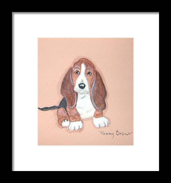 Basset Framed Print featuring the painting Baby Face by Tammy Brown