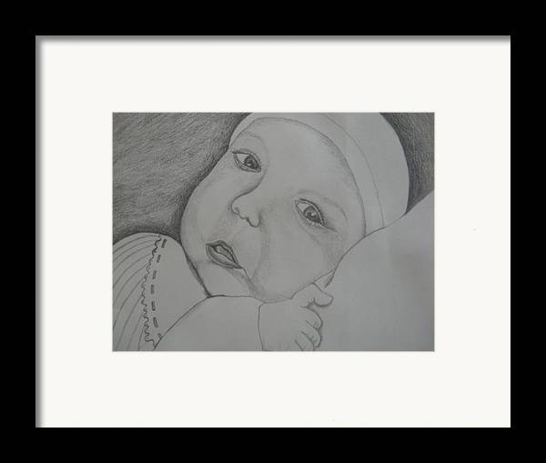 Baby Framed Print featuring the drawing Baby Girl Horizontal by Theodora Dimitrijevic