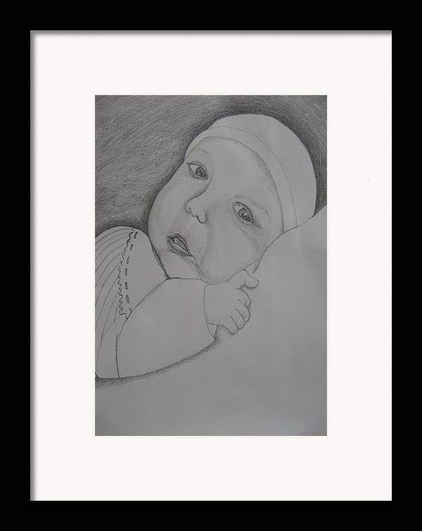 Baby Framed Print featuring the drawing Baby Girl by Theodora Dimitrijevic