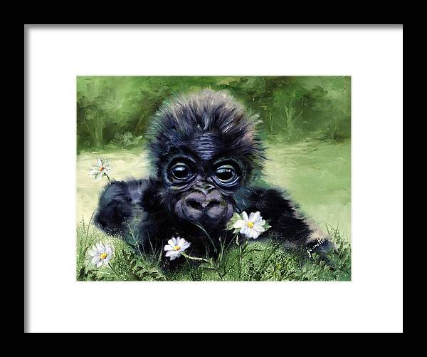 Baby Framed Print featuring the painting Baby Gorilla With Daisies by Jeanette Fowler