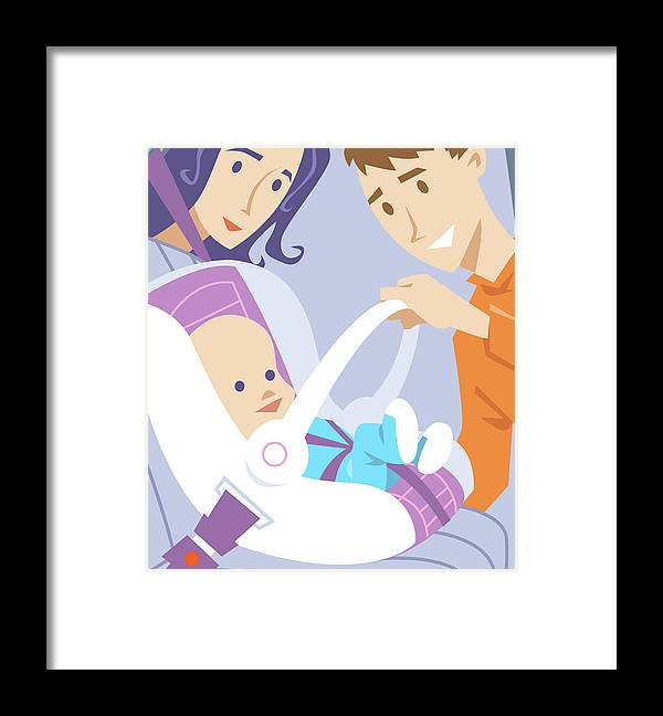 Baby Framed Print featuring the digital art Baby In Safety Seat. by Harry Briggs