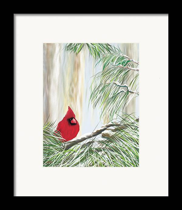 Cardnial Framed Print featuring the painting Baby It's Cold Outside by Harry Dusenberg