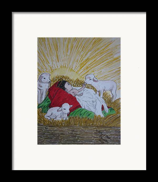Saviour Framed Print featuring the painting Baby Jesus At Birth by Kathy Marrs Chandler
