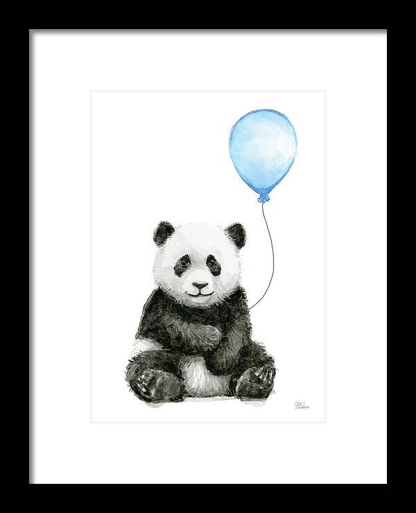 Baby Panda Framed Print featuring the painting Baby Panda With Blue Balloon Watercolor by Olga Shvartsur