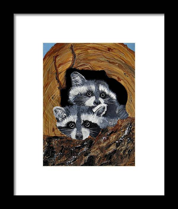Wildlife Framed Print featuring the painting Baby Raccoons by Dia Spriggs