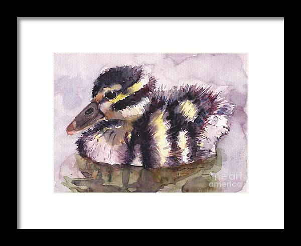 Whistling Duck Framed Print featuring the painting Baby Whister by Claudia Hafner