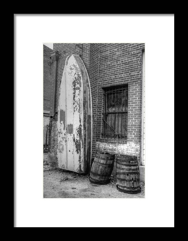 Boat & Barrels Framed Print featuring the photograph Back Alley Art Works by Dennis House