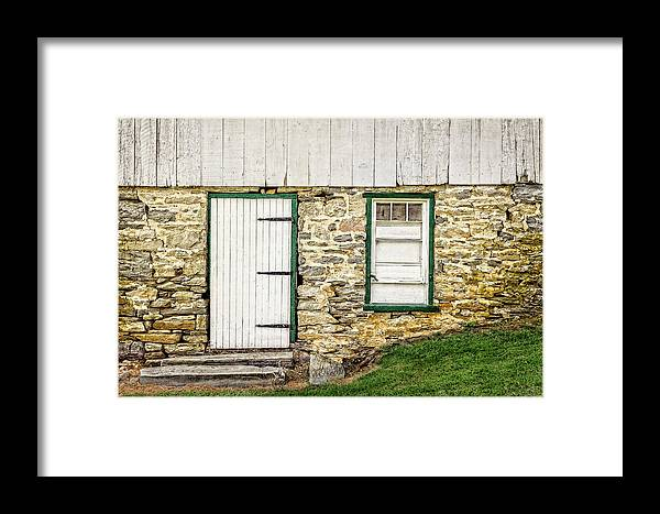Frank J Benz Framed Print featuring the photograph Back Entrance To An 1803 Amish Corn Barn - 1803pacornbarn172779 by Frank J Benz