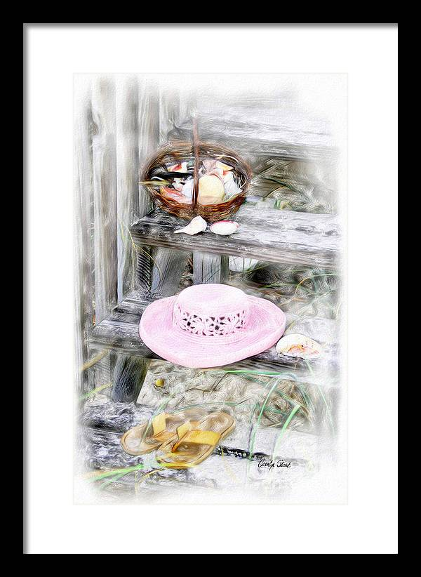 Tropical Beach Shells Seashore Framed Print featuring the painting Back From The Beach by Carolyn Staut