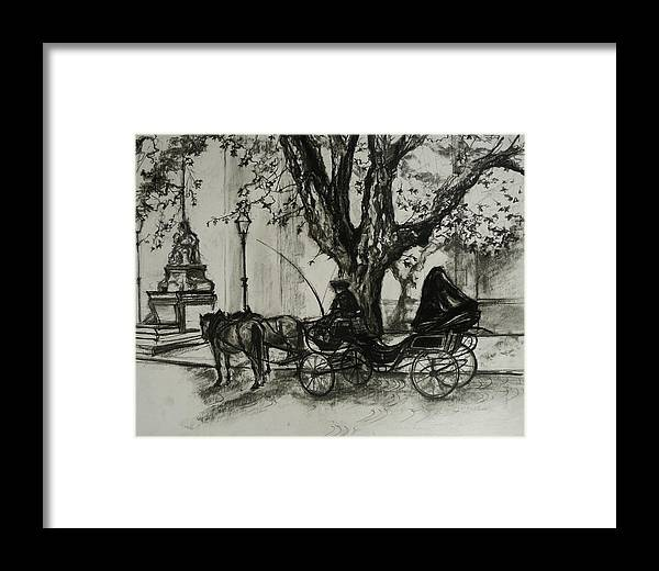 Horse And Carriage Framed Print featuring the drawing Back In Time by Veronica Coulston