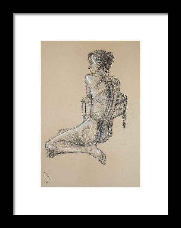 Realism Framed Print featuring the drawing Back Nude 2 by Donelli DiMaria