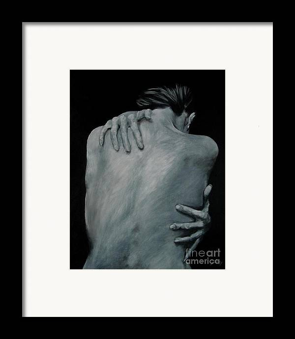 Nude Framed Print featuring the painting Back Of Naked Woman by Jindra Noewi