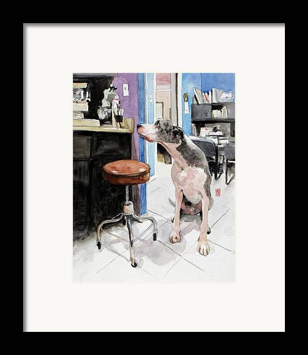 Veterinarian Framed Print featuring the painting Back Office by Debra Jones