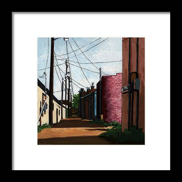 City Street Framed Print featuring the painting Back Street Alley city painting by Linda Apple
