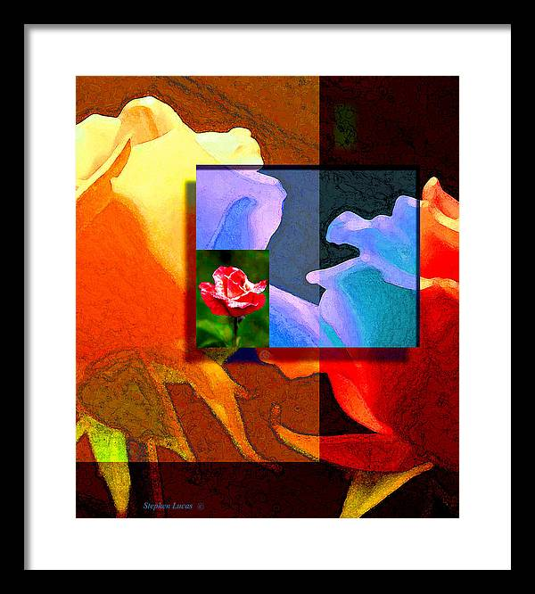 Modern Framed Print featuring the digital art Backlit Roses by Stephen Lucas