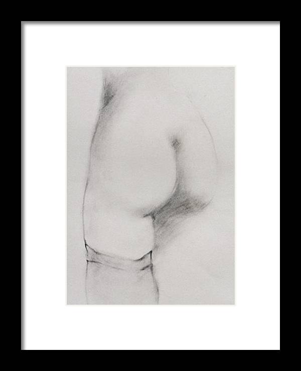 Classic Pencil Sketch Framed Print featuring the drawing Backside Stocking by Michael Rutland