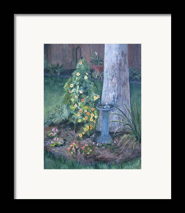 Everything In Bloom In Summertime Framed Print featuring the painting Backyard by Paula Pagliughi