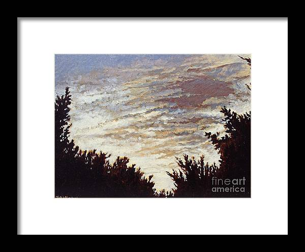Landscape Framed Print featuring the painting Backyard Sunset by Todd Blanchard