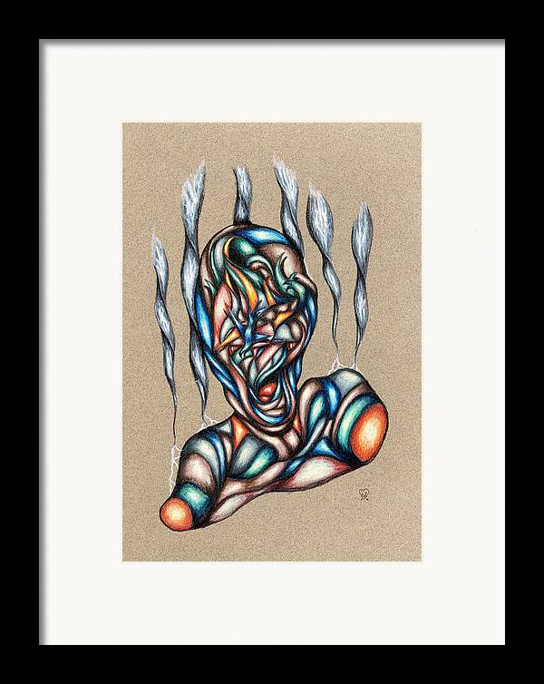 Pain Framed Print featuring the drawing Bad Day by Karen Musick