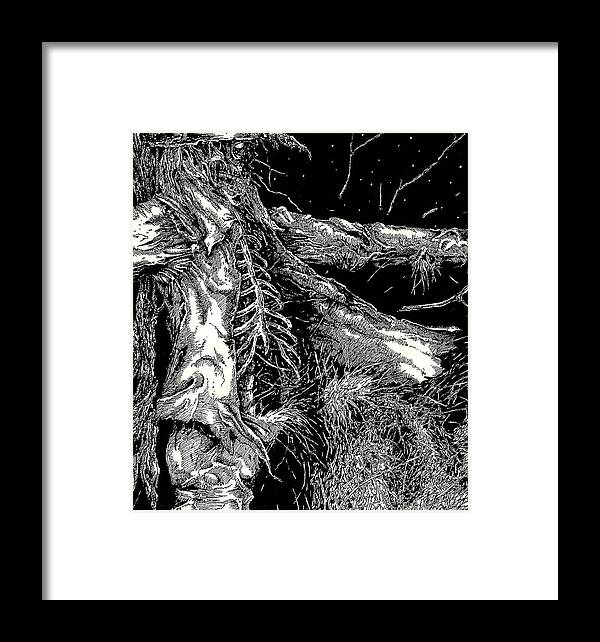 Scarecrow;horror;macabre; Skull; Pen And Ink Framed Print featuring the drawing Bad Oz 2 by Justin Kautz