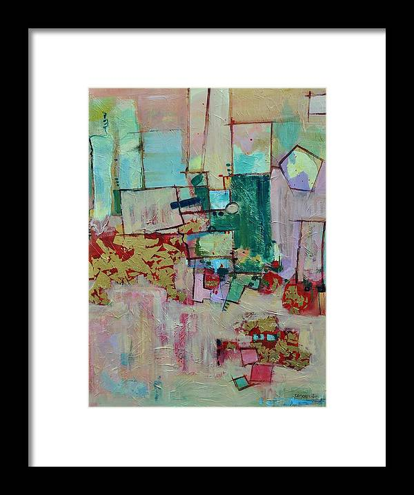 Geometric Abstract Framed Print featuring the painting BadaBing by Ginger Concepcion