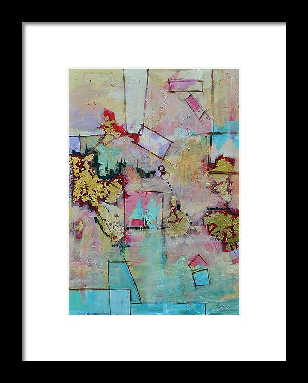 Geometric Abstract Framed Print featuring the painting BadaBoom by Ginger Concepcion