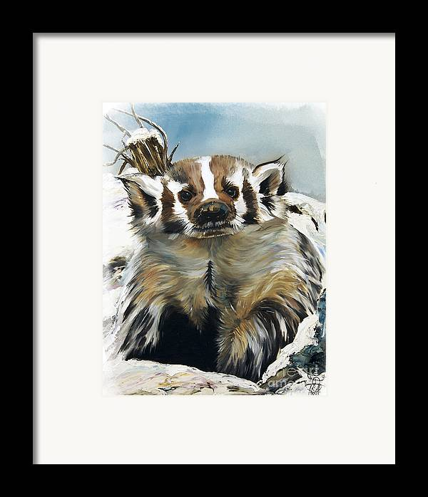 Southwest Art Framed Print featuring the painting Badger - Guardian Of The South by J W Baker