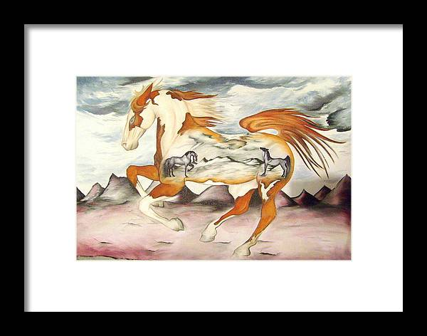 Horse Framed Print featuring the painting Badlands Horses by Angelina Benson