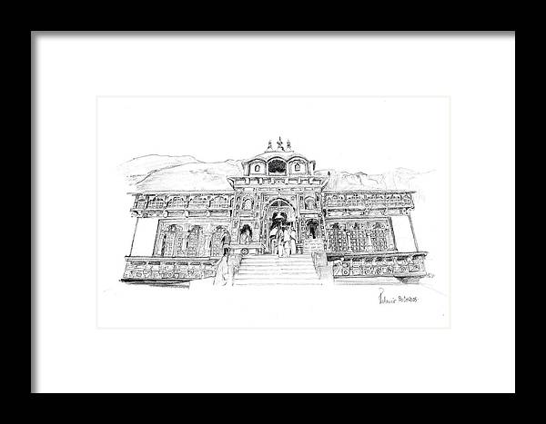 Landscape Framed Print featuring the drawing Badrinath by Padamvir Singh