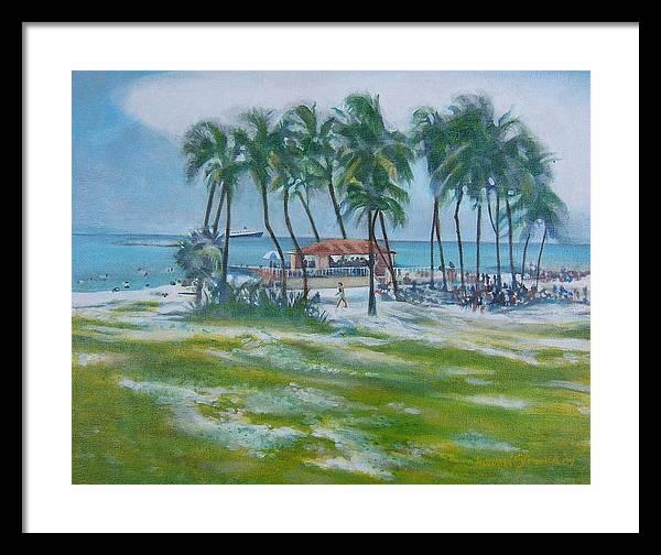Beach Scene In The Bahamas Framed Print featuring the painting Bahama Beach by Howard Stroman