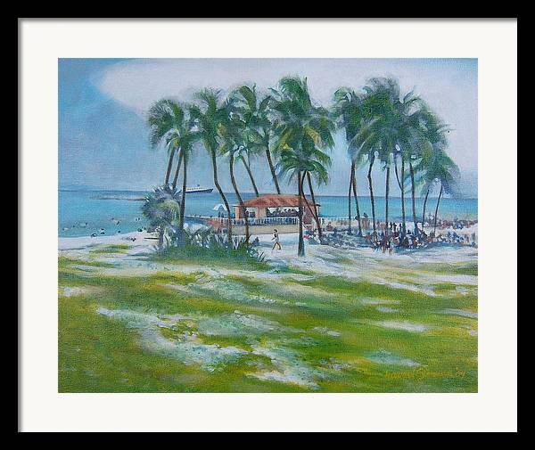 Beach Scene In The Bahamas Framed Print featuring the painting Bahama Beach by Howard Stroman