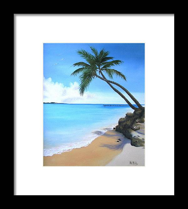 Beach Framed Print featuring the painting Bahamian Twin Palms by Maria Mills