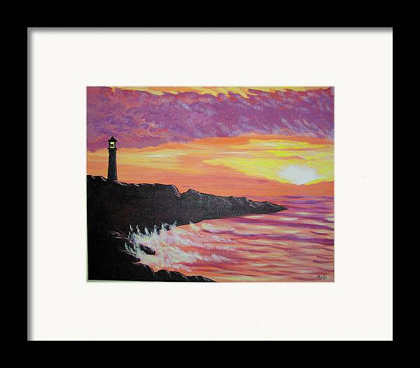Seascape Framed Print featuring the painting Bahia At Sunset by Marco Morales