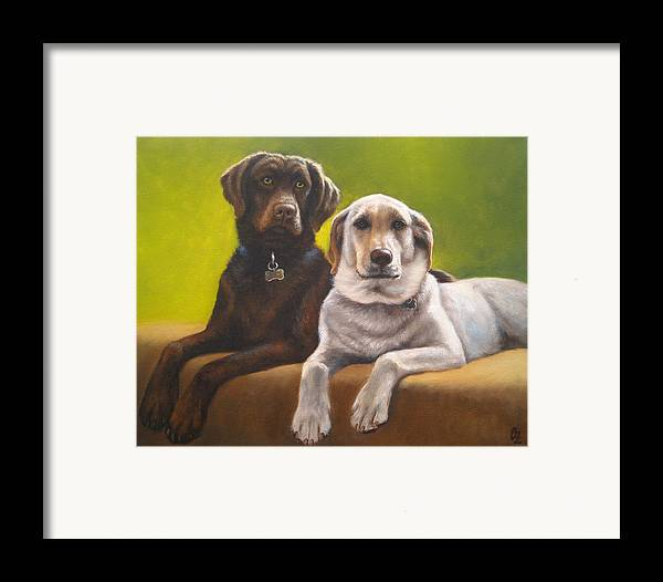 Dog Framed Print featuring the painting Bailey And Hershey by Oksana Zotkina