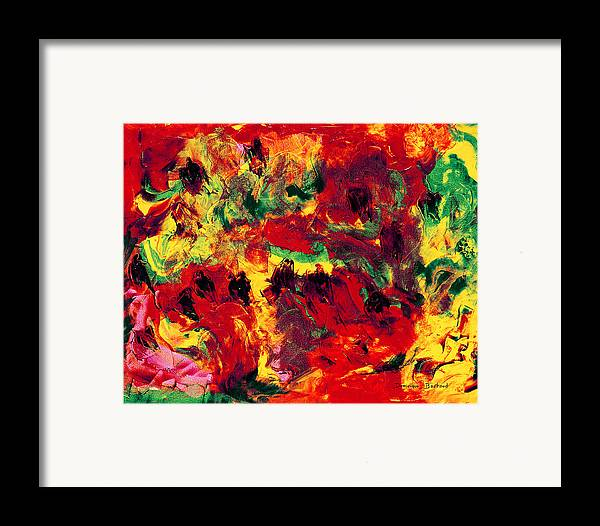 Abstract Framed Print featuring the painting Bain De Soleil by Dominique Boutaud