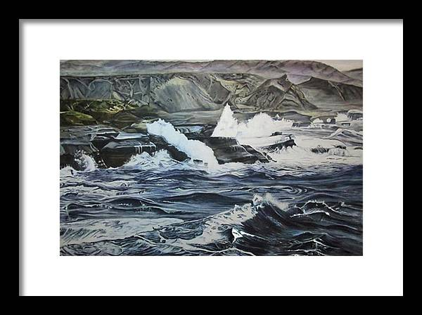 Seascape Framed Print featuring the painting Baja Break by Suzahn King