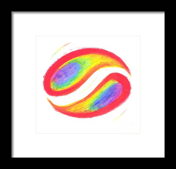 Rainbow Framed Print featuring the pastel Balance by Chandelle Hazen