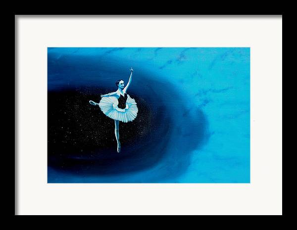 Oil Painting. Ballerina. Ballerina Dancing. Universal Balance. Surreal Impressionism Framed Print featuring the painting Balance by Ivan Rijhoff