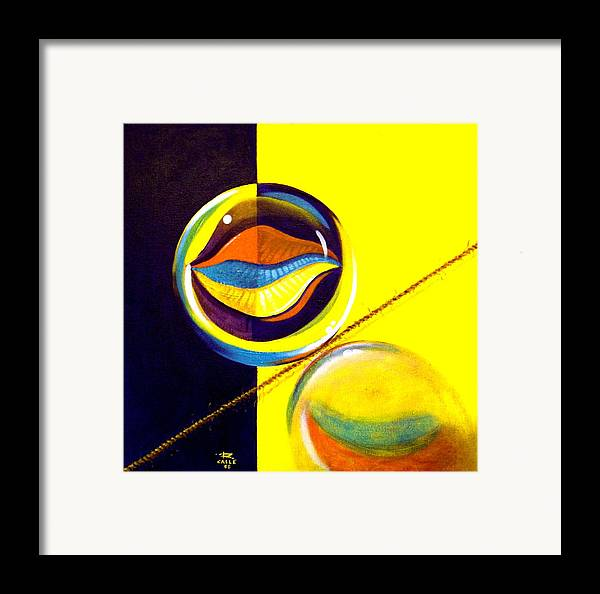 Surrealism Framed Print featuring the painting Balancing Act I by Roger Calle