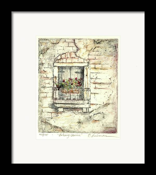 Venice Framed Print featuring the painting Balcony Venice by Richard Bulman