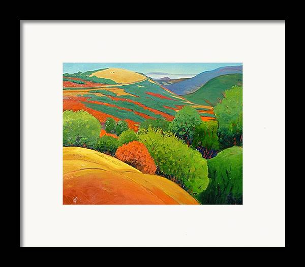 California Landscape Framed Print featuring the painting Bald Hill by Gary Coleman