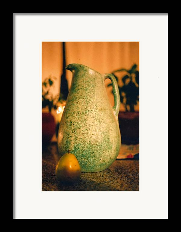 Still Life Framed Print featuring the photograph Bali Pitcher And Pear by Heather S Huston