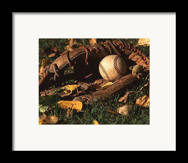 Horizontal Framed Print featuring the photograph Ball And Glove by Jack Dagley